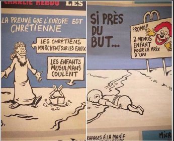 Les caricatures portant sur Aylan paru antérieurement dans le Charlie Hebdo. Source : http://d.ibtimes.co.uk/en/full/1459076/charlie-hebdo-drawing-aylan-kurdi.jpg?w=735